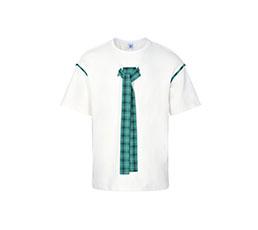 绿色格纹装饰纯棉白T恤