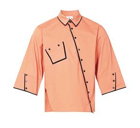 织带纽扣中袖休闲衬衣