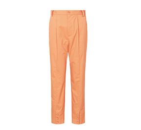 橘色小脚包扣休闲长裤