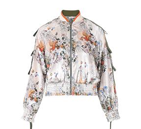 优雅丝绒精致印花棒球服版型外套
