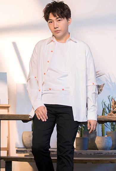 橙色扣子装饰优雅白时尚纯棉衬衣