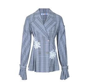英式复古格纹西装时尚外套