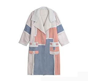 个性时尚麂皮保暖羊羔绒大衣