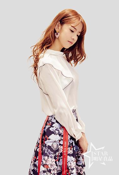 卷花高领雪纺衬衫